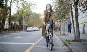 woman riding a bicycle